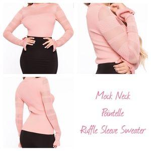 Mock Neck Pointelle Ruffle Sleeve Sweater